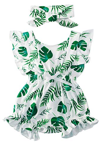 Hawaii Leaves Pattern Playsuit Nice Cozy Ruffle Sleeve Bowknot Bodysuit Girl's Elegant Floral Backless Wear Shower Gifts for Your Little One -