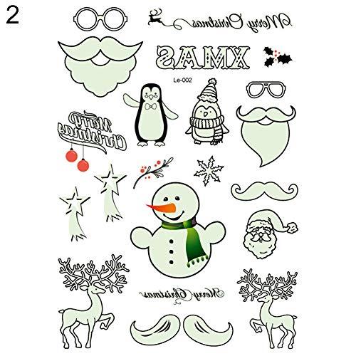 GuanGsskuo Sticker, Luminous Temporary Body Art Tattoo Sticker Christmas Carnival New Year Decor - 4# ()