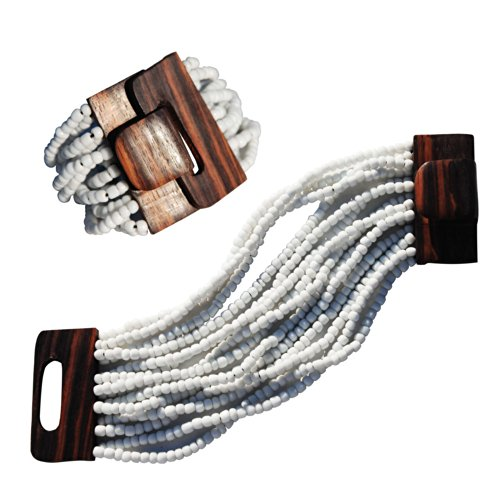 "White Beaded Ethnic Bali Bracelet With Hard Wood Buckle Clasp - 14 Elastic Strands – 2"" Wide"