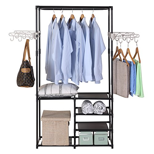 SITU Heavy Duty Double Garment Rack Hanging Bar 6 Tiers for Bins bags Shoes Storage with 4 Hooks for clothes and Towel Better for Home and Garden Use Black