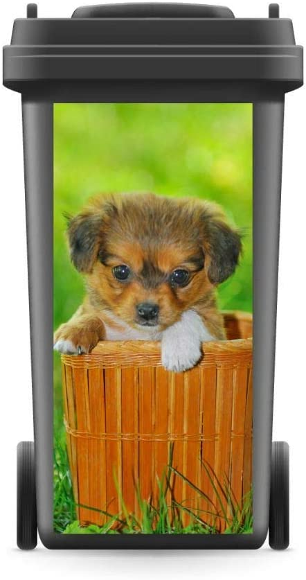 M/ülltonnenaufkleber M/ülltonne M/ülleimer Abfalltonne Hund Pekinese Wiese Korb WERBEPUNKT 720 x 320 mm