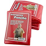 Emergency Zone Emergency Red Poncho, Emergency Rain Gear, Weather Protection. Disposable. 1 Pack