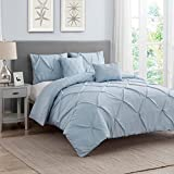 Wonder Home Pinch Pleat 5 Piece Comforter Set, Oversized, Fade Resistant, Wrinkle Free, Decorative Luxury Oversized Bedding Set, All Season Pintuck Style, Sky Blue, Queen, 92''x96''