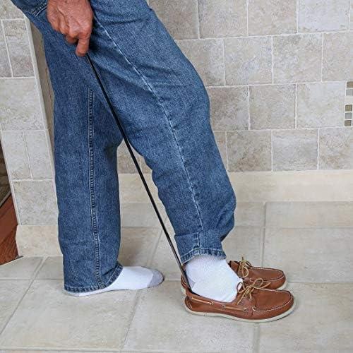 MDSM 女性男性用ロングハンドルステンレススチール製の靴リムーバー靴べら靴のケア&アクセサリー付き58センチメートルメタルシューホーン