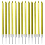 LCZX 60 Pack Gold Birthday Candles Metallic Tall Thin Cake Candles in Holders Wedding Candles Cupcake Candles Party Decoration Candles