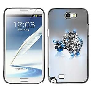 Caucho caso de Shell duro de la cubierta de accesorios de protección BY RAYDREAMMM - Samsung Galaxy Note 2 N7100 - Blue Cheetah Hybrid