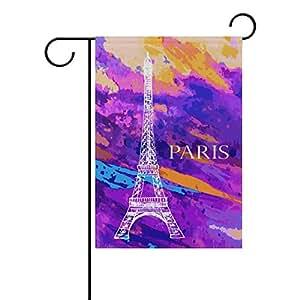 MyDaily Eiffel Tower Paris - Bandera decorativa de doble cara para jardín (12 x 18 y 28 x 40 pulgadas), poliéster, multicolor, 12 x 18 inch