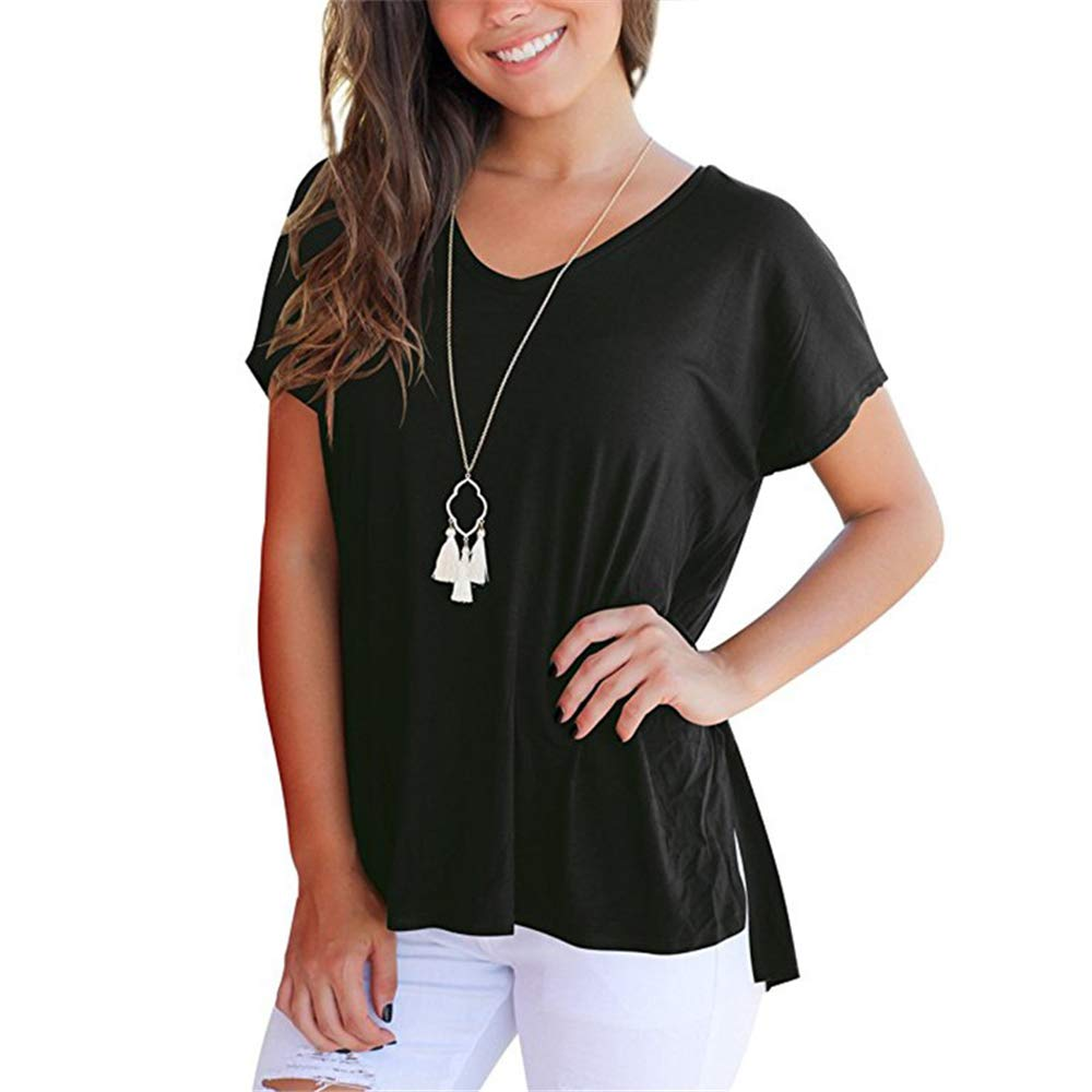 9dad93f7dfd Amazon.com  HuntGold Women Summer Spring V Neck Loose T Shirt High Low Short  Sleeve Casual Tops with Side Split-Black  Size  XL  Clothing
