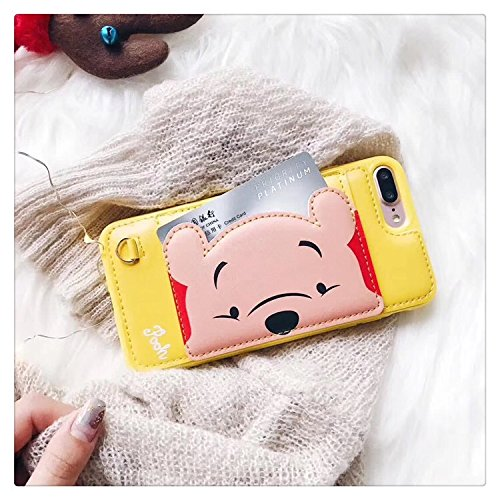 Yellow Winnie the Pooh Bear Leather Case with Card Holder Stand for iPhone 7 Plus / 8 Plus 7+ 8+ 7Plus 8Plus Large Size Disney Cartoon Protective Pratical Cute Lovely Gift Kids Boys Girls Little Girls