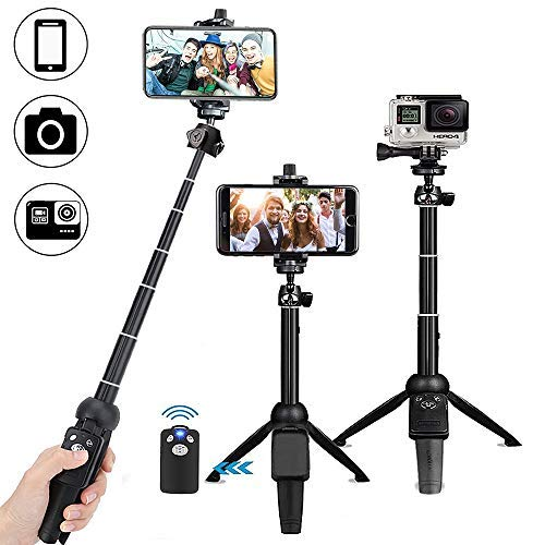 Selfie Stick Tripod, OYRGCIK Extendable Selfie Stick Tripod with Bluetooth Wireless Remote for iPhone X/XS/XS Max/XR/8/8 Plus/7/7 Plus/6S Plus, Samsung Galaxy S9/S9 Plus/S8/S8 Plus/S7/Note 8, Cameras