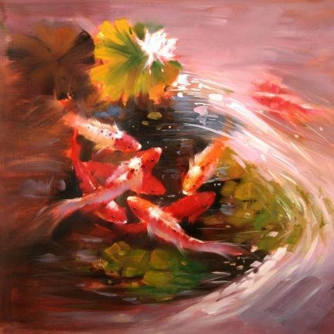 Lotus Notes 7 Download (Oil Painting 'Carps In Lotus Pond', 18 x 18 inch / 46 x 46 cm , on High Definition HD canvas prints is for Gifts And Basement, Bed Room And)