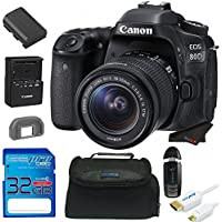 Canon EOS 80D DSLR Camera with 18-135mm Lens + 32GB Pixi-Starter Accessory Bundle w/ Camera Bag