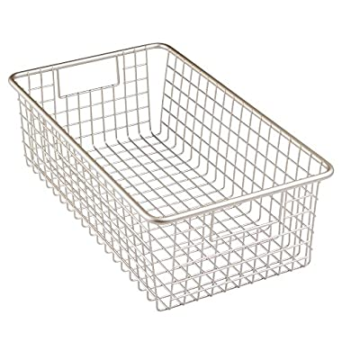 InterDesign Forma Household Wire Storage Basket with Handles For Kitchen Cabinets, Pantry, Bathroom, Large, Satin, 16-inch x 9-inch  x 5-inch