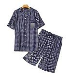Men's Cotton Woven Short Pajama Set Sleepwear (Navy Plaid, Large)