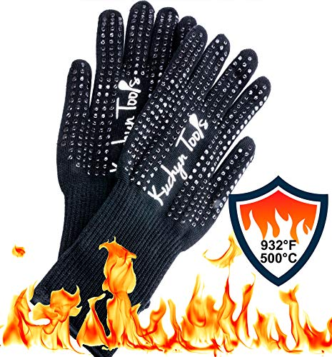Kuchyn Tools Non-Slip Extreme Heat Resistant (932°F/500°C) BBQ Gloves, Food Grade Kitchen Oven Mitts - Use for Grilling, Cutting, Baking, Pot/Iron Cast Holders (1 Pair)