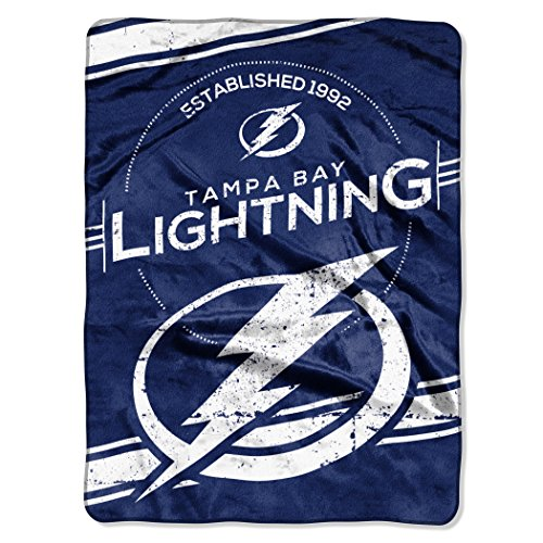 Officially Licensed NHL Tampa Bay Lightning Stamp Plush Raschel Throw Blanket, 60