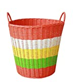 MYtodo Pastoral solid color Soft Tubes Laundry hamper Kids Toys Plastic Woven Barrels (Orange)