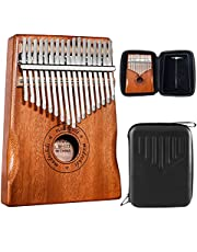 $34 » Madoshdi Kalimba Thumb Piano 17 Keys Portable Mbira Finger Piano with Waterproof Protective Box Easy to Learn Song book Musical Instrument Gifts for Kids and Adults Beginners