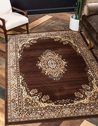 Unique Loom Reza Collection Classic  Traditional Brown Area Rug (5' 0 x 8' -