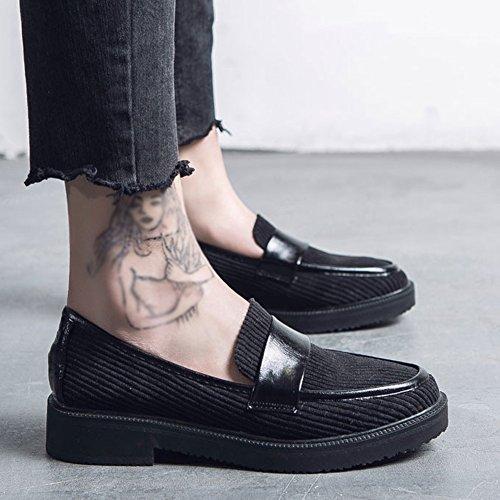T-juli Instappers Schoenen Voor Dames - Western Slip Op Dikke Zool Lage Wig Casual Cent Zwart