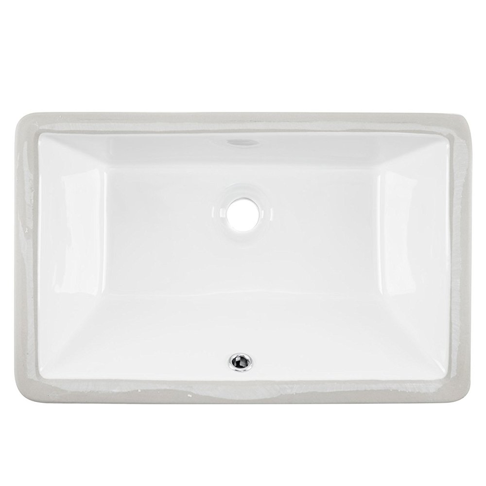 Friho 20.9''x13.6''x7.1'' Modern Rectangular Undermount Vanity Sink Porcelain Ceramic Lavatory Bathroom Sink,White With Overflow by Friho