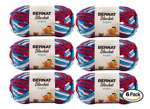 Bulk Buy: Bernat Blanket Yarn (6-Pack) Super Bulky #6 5.3 Ounce 108 Yards Per Skein (Red White & Boom)