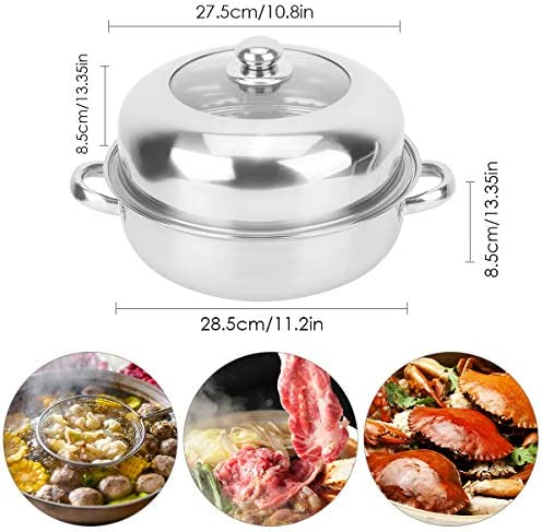51kHsY5PL%2BL. AC HelloCreate Steamer Pot, Stainless Steel Single Layer Stockpot Hotpot Food Steamer Pot Cookware Household Cooking    Specification:Condition: 100% Brand NewProduct material: stainless steelSteamer layer: single layer + steamed dicePot diameter * Pot height: Approx. 28 * 8.5cm / 11 * 3.3inCover diameter * Cover height: Approx. 27.5 * 8.5cm / 10.8 * 3.3inSteaming sheet diameter * Height: Approx. 27.8 * 0.2cm / 10.9 * 0.1in
