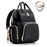 Baby Diaper Bag - Multifunctional Backpack Diaper Bag with USB Port, Waterproof Linings, Insulated Bottle Pockets, Stroller Straps and Wide-Open Design, Unisex and Durable (L, Black)