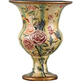 Home decor. Yellow and Green Floral Vase. Dimension: 9.5 x 9.5 x 12. Pattern: Exotic Blossoms.