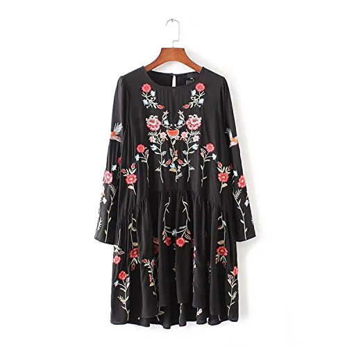 A-line Dress Long Sleeve o-Neck Ladies Spring QZ2620 as Picture XL