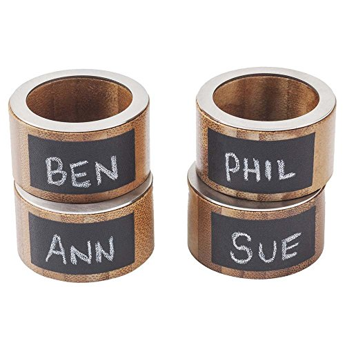 G.U.S. Eco-Friendly Bamboo Napkin Rings with Chalkboard Labels - Set (Navy Bamboo Rings)