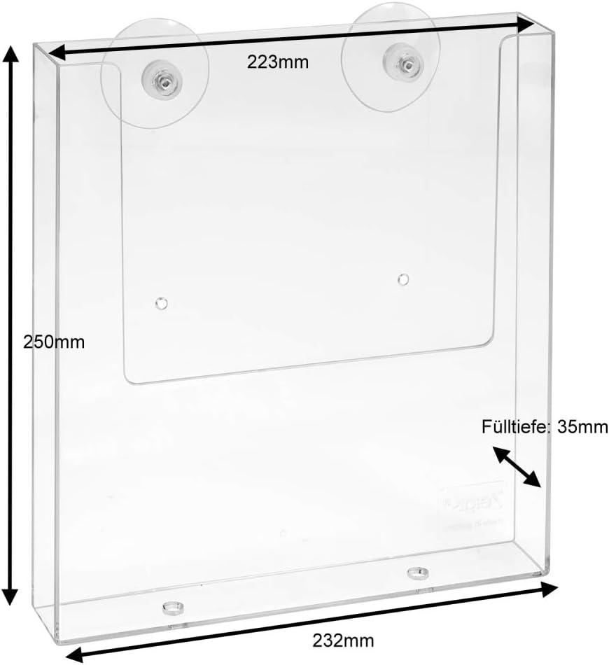 DIN A4 Prospekthalter im Hochformat mit Saugn/äpfen zur Befestigung auf Glas//Prospekthalter//Flyerhalter//Prospektbox//Prospektfach//Transparent//Haftsauger Zeigis/®