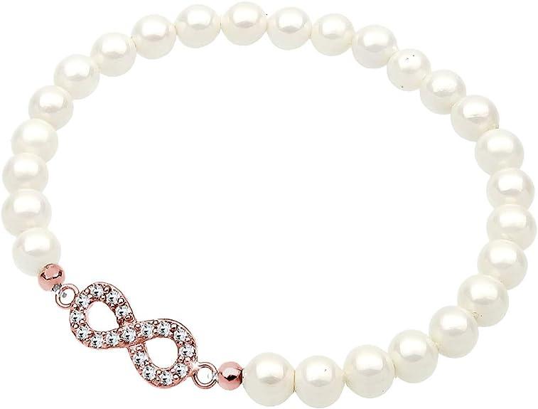 Elli Bracelet pour Femme avec Perle et Cristaux Swarovski en Argent 925 Lie