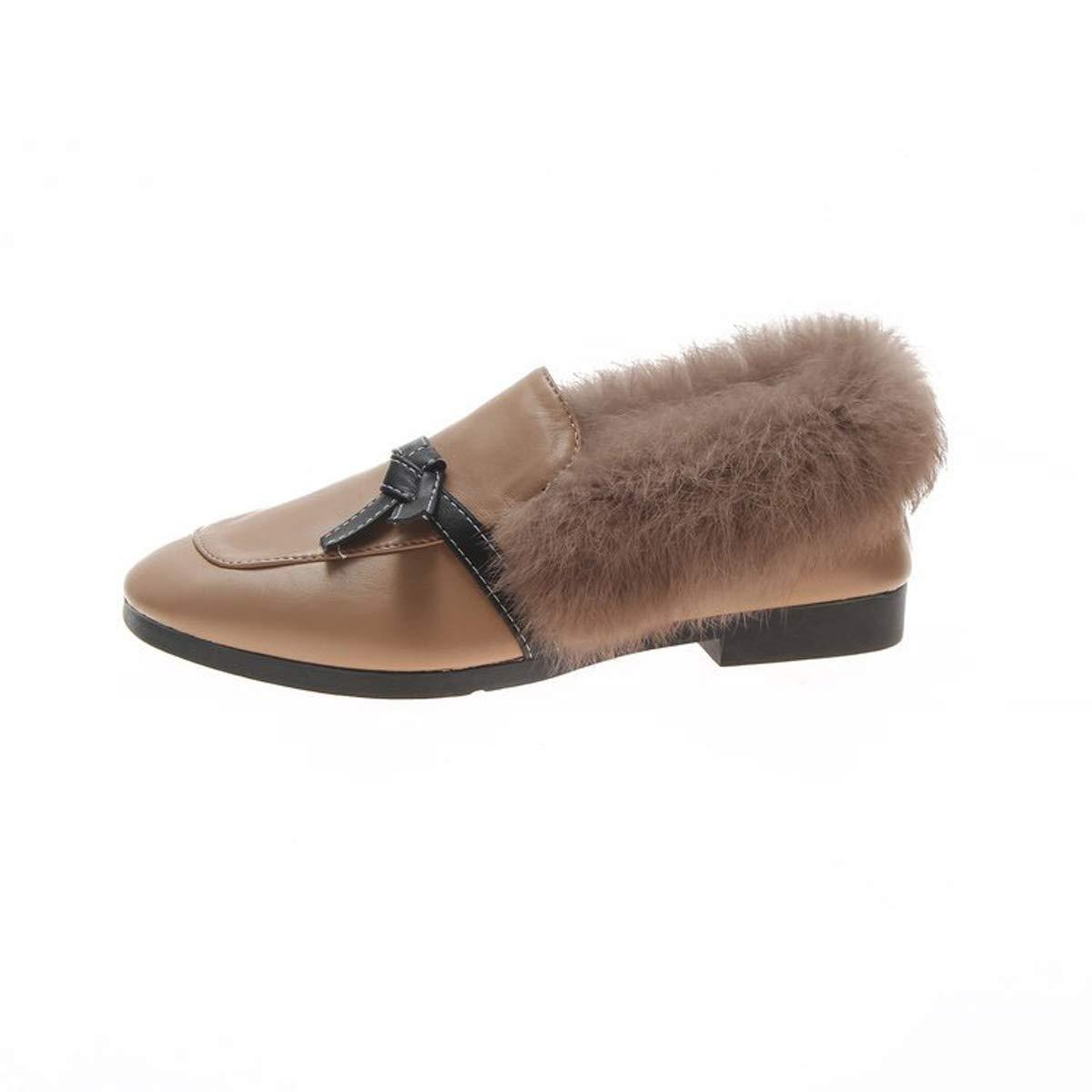 DANDANJIE Las Mujeres Mocasines Bloque De Tacón De Felpa Zapatos Sexy Moño Mocasines Zapatos Perezosos Al Aire Libre para Otoño Invierno: Amazon.es: ...