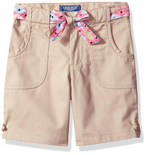 Cherokee Big Girls' Uniform Twill Short with Belt, Khaki, 12 (Cherokee Shorts Khaki)