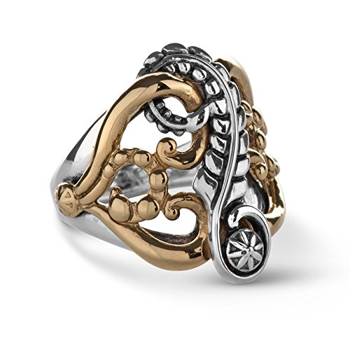 American West Sterling Silver Brass Floral Leaf Ring Size 06 ()