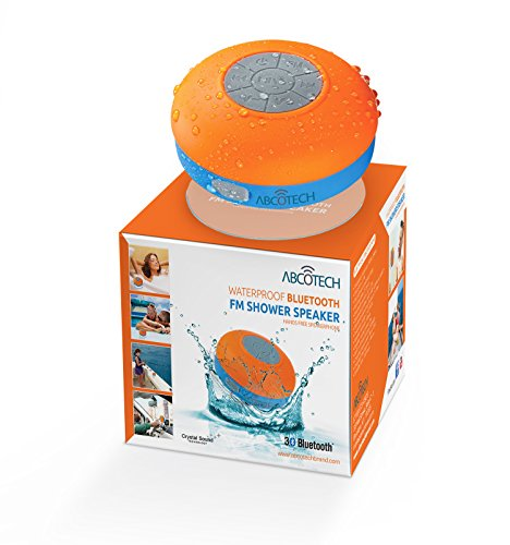 Bluetooth Shower Speaker – FM RADIO – Water Resistant – Wireless and Hands-Free speaker phone with Suction Cup – Auto Pairing Feature – Compatible with all Bluetooth devices by Abco Tech