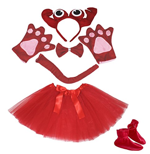 [Petitebella Red Crab Headband Bowtie Tail Glove Shoes Tutu 6pc Costume for Girl (One Size)] (Crab Costumes)