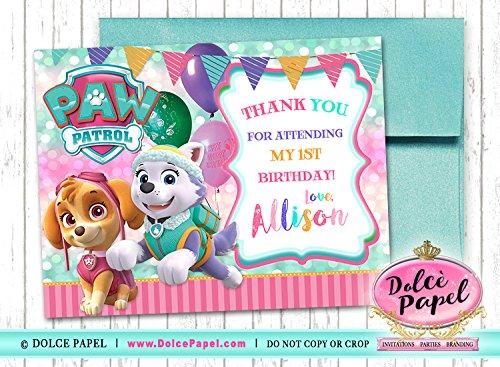 Amazon Com 10 Paw Patrol Girl Birthday Pink And Teal Skye And