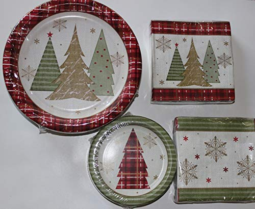 Christmas Paper Plates - Winter Wonderland Dinner and Napkin Party Pack - Serves 50 - Includes 50 (10.25