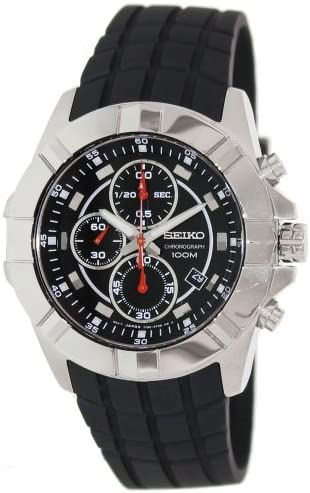 Seiko SNDD73P2 Mens Stainless Steel Case Rubber Strap Black Dial Chronograph Watch