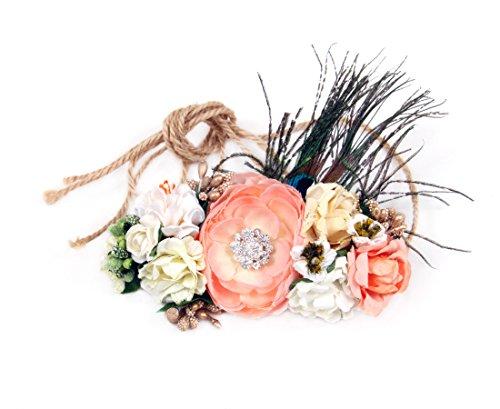 DIY Flower Crown Headband Kit Formal Elegant Hippie Style Floral Hair Accessory - Peach