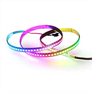 ALITOVE 3.2ft WS2812B Individually Addressable Digital RGB LED Strip 144 Pixels High Density Magic Dream Color Programmable LED Pixel Rope Light Not Waterproof White PCB 5V DC