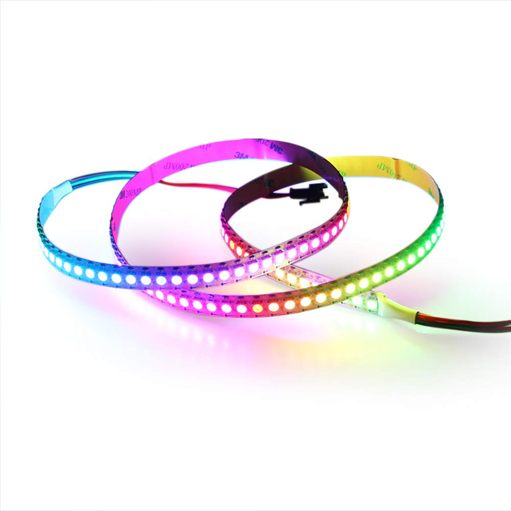 ALITOVE 3.2ft WS2812B Individually Addressable Digital RGB LED Strip 144 Pixels High Density Magic Dream Color Programmable LED Pixel Rope Light Not Waterproof White PCB 5V DC for Arduino