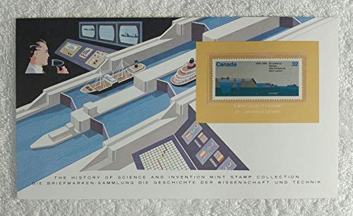 The St. Lawrence Seaway - Postage Stamp (Canada, 1984) & Art Panel - The History of Science & Invention - Franklin Mint (Limited Edition, 1986) - Linking the Great Lakes with the Atlantic Ocean, Shipping
