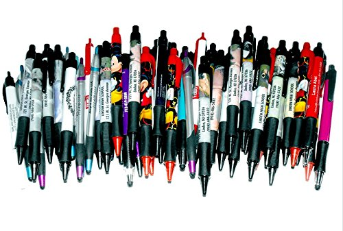 25-Wholesale-Lot-Misprint-Ink-Pens-Ball-Point-Plastic-Retractable