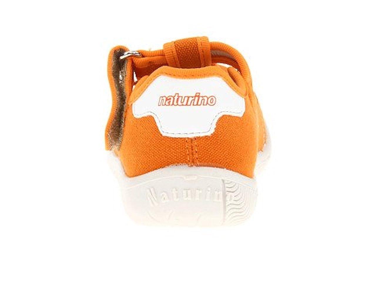 Naturino Girls 7742 Orange Canvas T Strap Sneaker