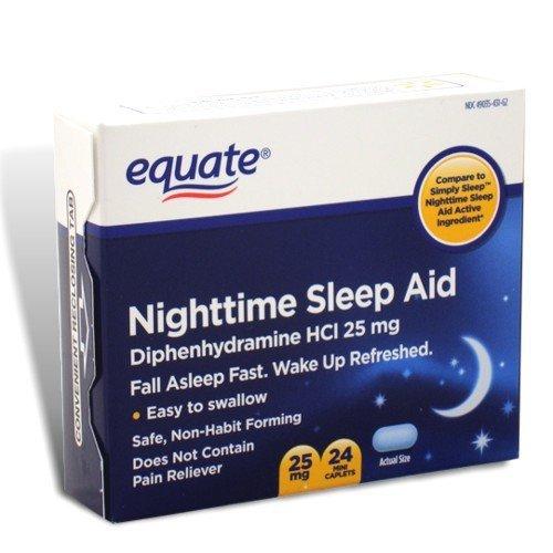 Equate - Nighttime Sleep Aid 25 mg, 24 Mini-Caplets (Compare to SimplySleep) - Nighttime 24 Caplets