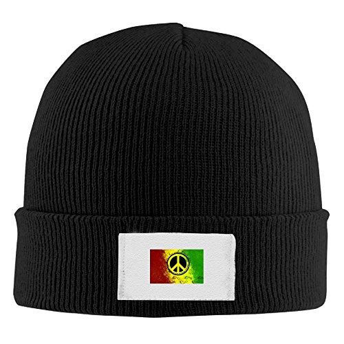Peace Sign Austin Elastic Rib Knit Beanie Hats Black