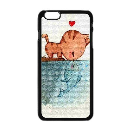 "Danny Store Hardshell Cell Phone Cover Case for New iphone 6 6s Plus (5.5""), Cat Kiss Fish"